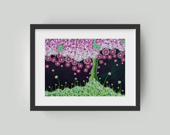 Cherry Tree postcard, dot art acrylic painting decoration Spring cherry blossom Gift