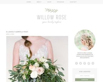 "Wordpress Theme Premade Blog Template Design - ""Willow Rose"" Instant Digital Download"