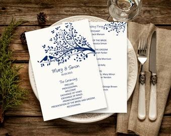 Navy Wedding Program Template, Rustic Birdie Wedding Program, Download Instantly wedding program template, vintage wedding program