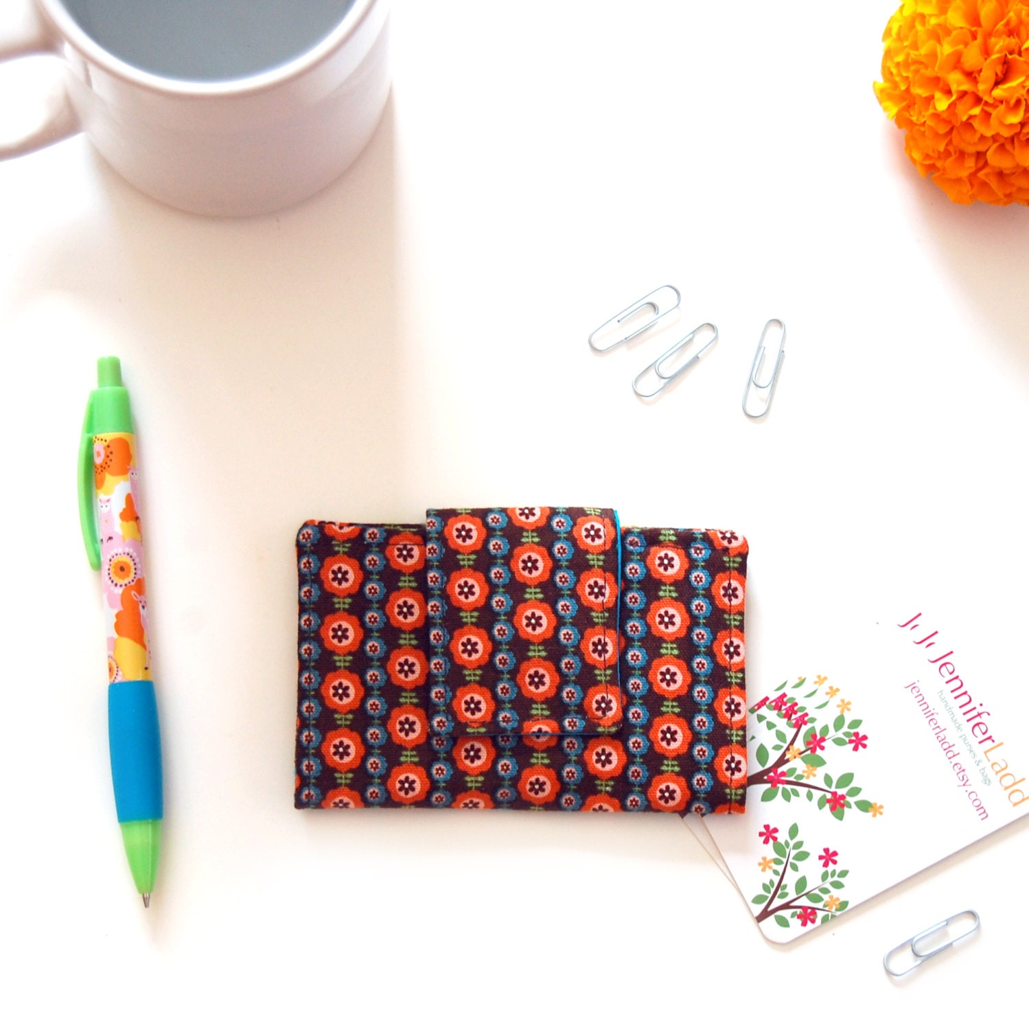 Floral business card holder, Fabric business card holder, Business ...