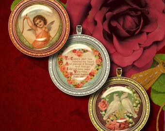 Vintage SWEET VALENTINES  Flowery Hearts  - Digital Collage Sheet - 24 Circles 1.5 inch or smaller available - Buy 3 Get 1 Extra Free