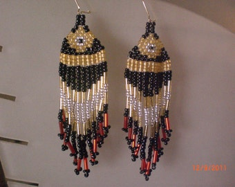 "Black, Gold, Red & Silver 3"" Chandelier Earrings"