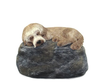 Ceramic Engraved Poodle Mix Painted Cremation Urn - hand made pet urn