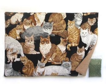 Catnip Mat plus Catnip  Cats on Black Refillable Reversible