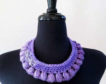 FREE US SHIPPING - Lavender Lilac Violet Purple Color Statement Fiber Collar Necklace with Faceted Crystal Glass Beads