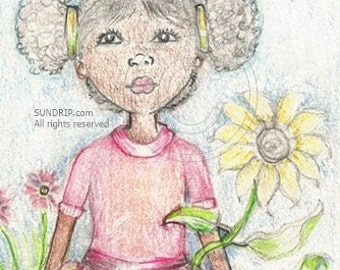 Black Child Drawing Young Black Ballerina Dancer Tutu Flower Skirt and Sunflower Delicate Colored Pencil Art