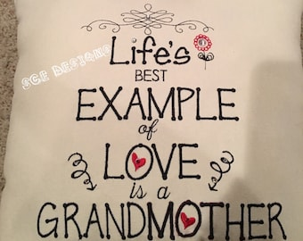 """Grandmother pillow- grandparents day gift-,mothers day pillow gift -grandmother love pillow """"Life's best example of love is a Grandmother"""""""