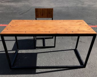 Modern Industrial Steel and Wood Desk (Cedar and Steel Desk)