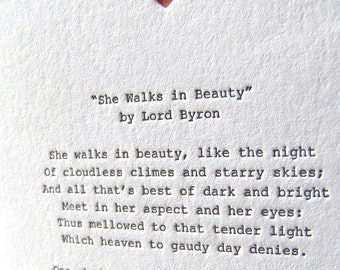 Letterpress Note Card - Love Poetry (Byron)