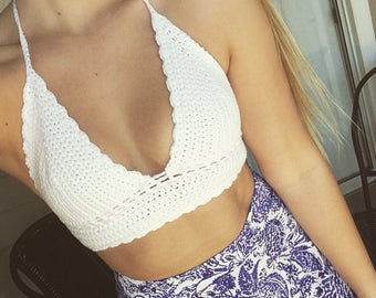 Crochet Crop Top with Band Detail, White Crochet Festival Top, Crochet Bralette
