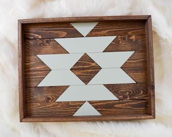 Wood Tray - Geometric Wood Wall Art - Wood Catch All - Modern Wood Tray - Decorative Tray - Valet Tray - Jewelry Tray - Wooden Tray