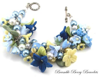 Mother's Day Bracelet  - Mother's Day Jewelry - Mother's Day Gift - Blue Floral Bracelet -  Wedding Jewelry - Charm Bracelet