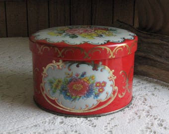 Daher Red Floral Tin Vintage Boxes and Tins Cookie or Candy Tin Storage and Gifts