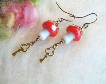Mushroom Earrings Lamp Work Beads Magic Mushroom Enchanting Woodland Toadstool Beaded Earrings Handmade Beaded Earrings Skeleton Key Charm