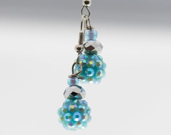 Blue Textured Earrings
