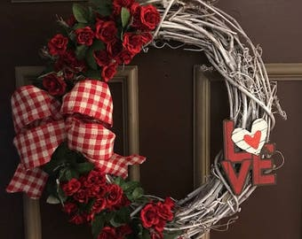 Rustic white Valentines Day wreath
