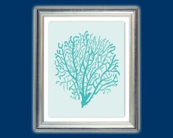 Sea fan art, Gorgonian art, Gorgonian poster, Gorgonian print, Nautical art, Beach house or Bathroom, decor, Nursery art, Instant download.