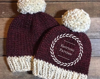 The CREEKSIDE beanie pattern/Knitting pattern / Knit pattern / Basic knitting pattern /Basic knit hat/ Beginner knitting pattern