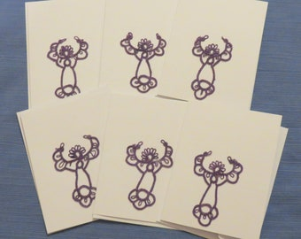 Handmade  Tatted Lace Awareness Angel Cards