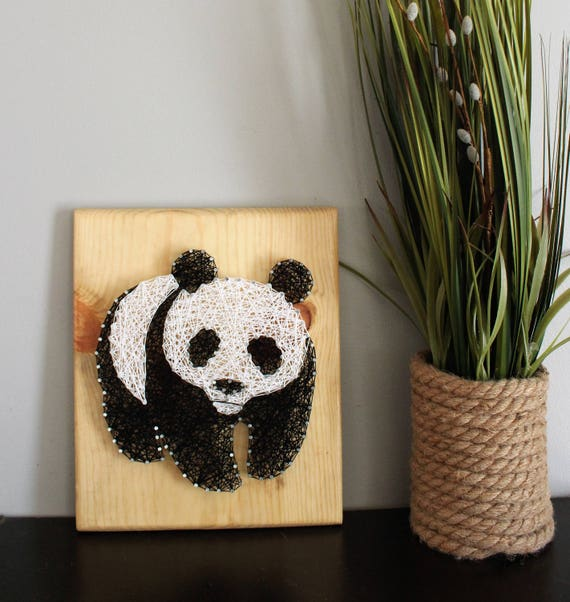 Panda Bear Art Nursery String Art Sign Baby Animal Kid Room