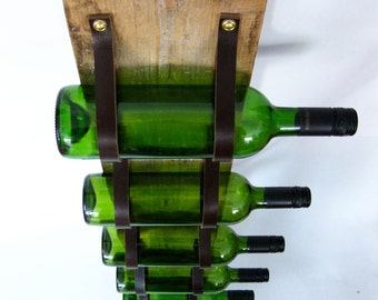 Wood & Leather Wine Rack reclaimed wood and recycled leather 5 Bottle wall bottle holder LWR56