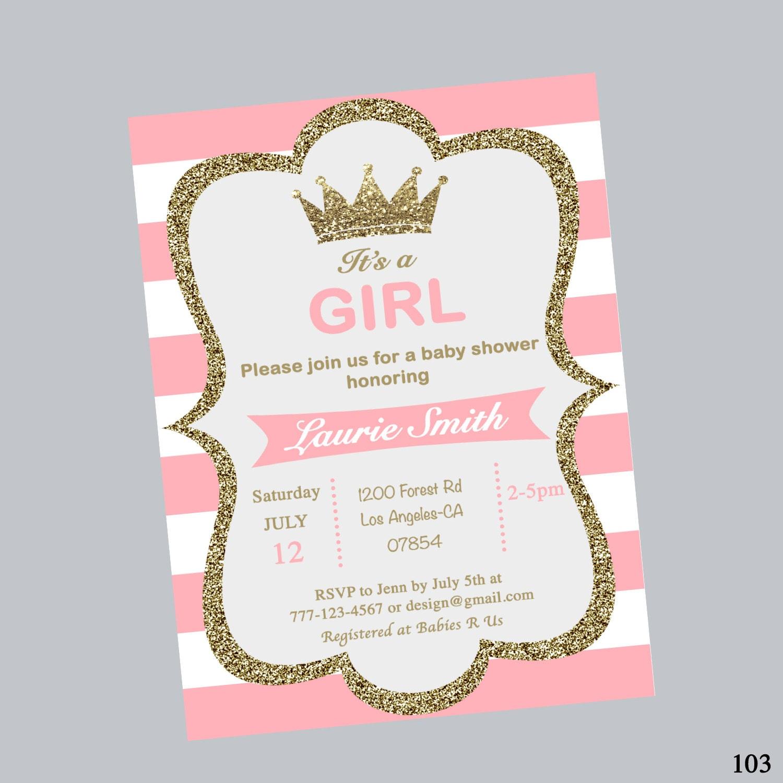 princess crown baby shower invites baby shower invitation