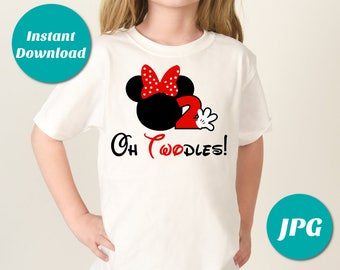 INSTANT DOWNLOAD Print at Home Red Mouse Oh Twodles Printable Iron On Transfer / Two 2 2nd Birthday / T-shirt / Item #3113
