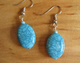 Short Oval-Shaped Blue Dangles