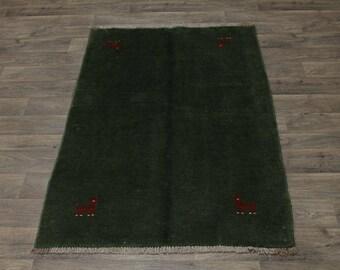 Tribal Handmade Plush Green Gabbeh Modern Persian Area Rug Oriental Carpet 4X6