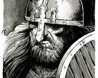 VIKING WARRIOR - original ink drawing portrait