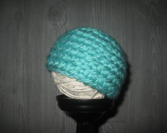 0 to 3 month blue green Crochet Hat