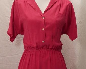 1980s Diane Von Furstenburg, Fuchsia silk shirtdress, vintage shirtdress, 80s von furstenburg, vintage von furstenberg, summer dresses