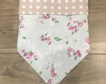 Floral+Dots, handmade dog bandana, option to personalize with embroidery