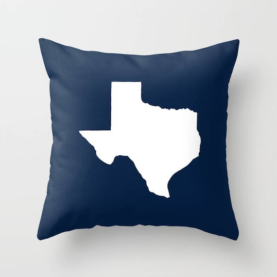 Texas Throw Pillow . Navy Blue Pillow . Texas Cushion . Navy Pillow . Texas Pillow . Texas State . Cyan Pillow . Texas Gift 14 16 18 20 inch