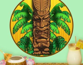 Angry Hawaiian God Tiki Bar Wall Decal - #59046