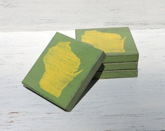 Any State, Pick Colors, Custom Wooden State Coasters, Set of 4, Wedding, Housewarming, Wisconsin, Packers
