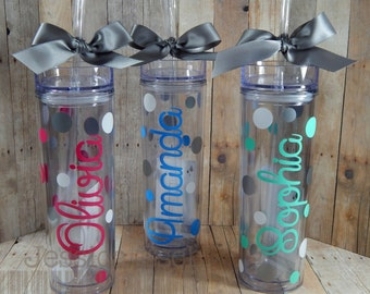 Personalized Skinny 16oz Tumbler- Party Favor, Teacher Appreciation ~ Custom Design