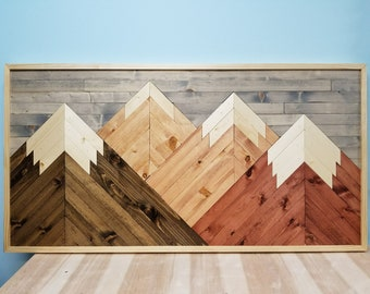 Woodworking Mountain Wall Art.  Wood Mountains.  Handmade and Rustic.