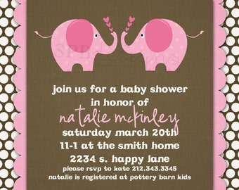Baby Shower Invitation -- Cute Ellies