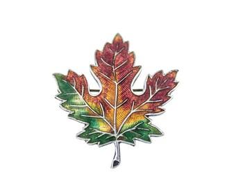 Vintage Sterling Silver Enamel Maple Leaf Brooch