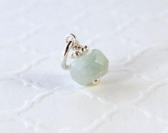 SALE - Genuine Aquamarine Charm - Sterling Silver ADD ON Dangle Pendant - Natural Aqua-Blue Gemstone - Fits Pandora - March Birthstone