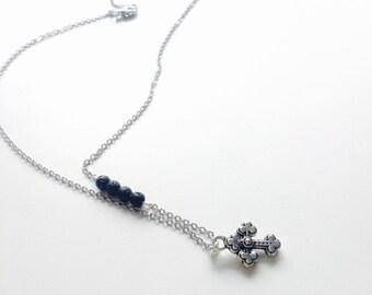 Cross necklace, essential oils necklace, essential oil jewelry, diffuser necklace, diffuser jewelry, diffuse necklace, lava necklace, stone
