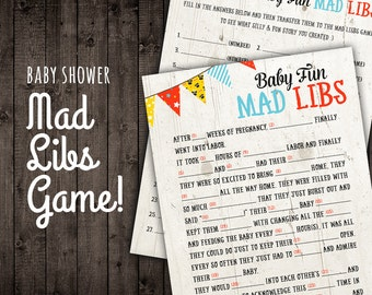 Baby Shower Game - Mad Libs Baby Shower Game - Red Blue Yellow Gender Neutral - 5x7 PRINTABLE Baby Shower Fun Mad Lib Game