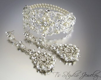 Bridal Cuff Bracelet and Pearl Chandelier Earrings Set - Crystal Rhinestones and Pearls
