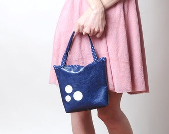 "Small leather bag in blue varnished leather, Blue leather pouch with zipper, white circles, 22cm x 26 cm (8.7x10.2"") Gift for her, MALAM"