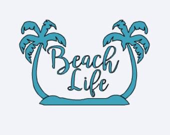 Palm Tree - Palm Tree Decal - Beach Car Decal - Beach Decal - Beach Life - Beach Life Decal