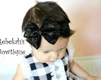 Black glitter headband, Christmas baby headband, sparkle headband, hair bows for girls,baby hairbows,Bling hair bows,red,gold,silver,white