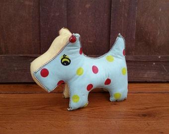 Vintage Polka Dot Vinyl Plush Stuffed Toy Dog