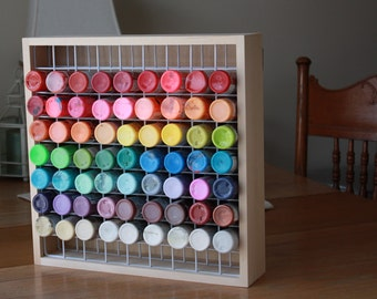 Craft Paint Storage Rack Holds 81, 2 oz Bottles of Paint, Paint Rack, Square Paint Rack, Craft Paint Storage Box, 2 oz paint bottle rack