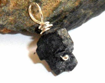 Raw Black Tourmaline Pendant earthegy #2510